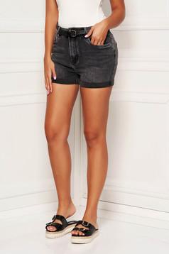 Pantalon scurt SunShine gri-inchis casual din denim cu talie medie si buzunare