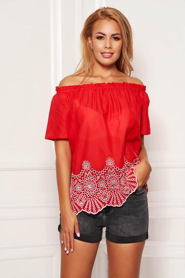 Bluza dama SunShine rosie casual din bumbac cu croi larg cu maneci scurte pe umeri