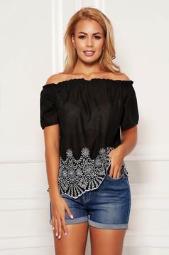 Bluza dama SunShine neagra casual din bumbac cu croi larg cu maneci scurte pe umeri