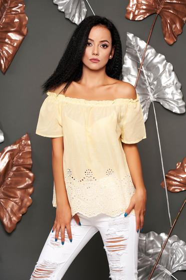 Bluza dama SunShine galbena casual din bumbac cu croi larg cu maneci scurte pe umeri