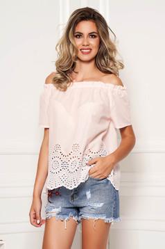 Bluza dama SunShine roz deschis casual din bumbac cu croi larg cu maneci scurte pe umeri