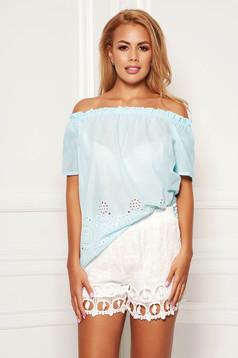 Bluza dama SunShine albastru-deschis casual din bumbac cu croi larg cu maneci scurte pe umeri