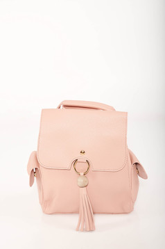 Pink backpacks casual faux leather lateral pockets adjustable straps