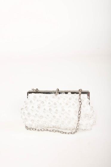 Geanta dama alba de ocazie cu lantisor detasabil cu aplicatii cu perle si pietre strass