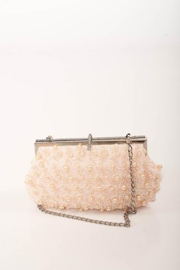 Geanta dama roz prafuit de ocazie cu lantisor detasabil cu aplicatii cu perle si pietre strass