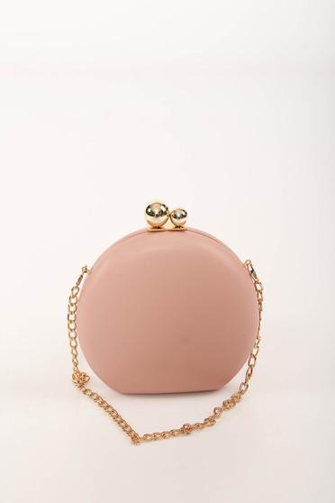 Geanta dama roz prafuit de ocazie din imitatie de piele cu maner lung tip lantisor