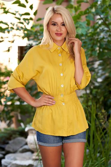 Camasa dama SunShine mustarie casual cu elastic in talie cu maneci trei-sferturi si guler