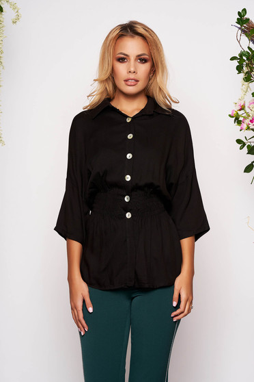 Camasa dama SunShine neagra casual cu elastic in talie cu maneci trei-sferturi si guler