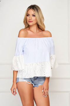 Lightblue women`s blouse casual short cut cotton with bell sleeve naked shoulders