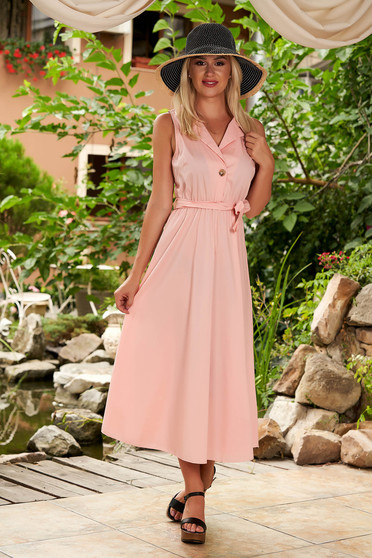Rochie SunShine roz deschis de zi midi in clos din bumbac cu elastic in talie si cordon detasabil