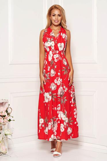 Rochie SunShine rosie de zi in clos fara maneci cu elastic in talie cu spatele gol si imprimeu floral