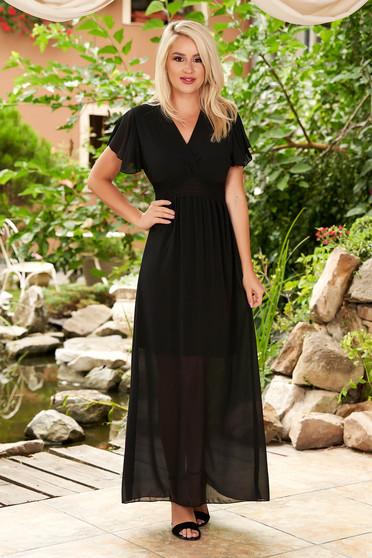 Rochie SunShine neagra maxi de zi din voal cu maneci tip fluture cu decolteu in v si elastic in talie