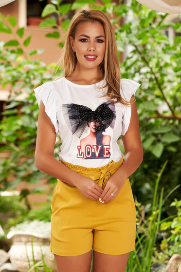 Tricou SunShine alb cu volanase la maneca si imprimeuri grafice