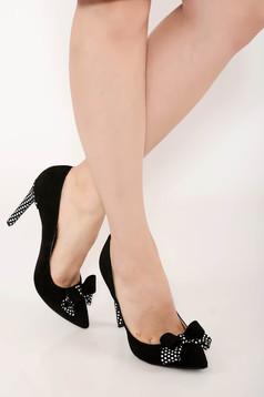 Pantofi negru elegant din piele naturala accesorizat cu fundite si buline