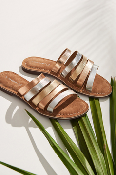 Pantofi Top Secret auriu casual din piele naturala cu talpa joasa si barete subtiri