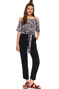 Pantaloni Top Secret negri casual cu un croi drept talie medie si buzunare