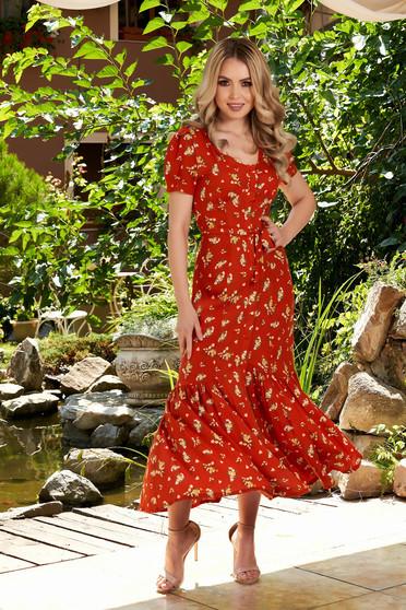 Rochie StarShinerS caramizie midi de zi in clos cu maneci scurte cu imprimeu floral si accesorizata cu cordon