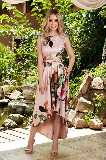 Rochie roz prafuit de ocazie midi asimetrica cu decolteu rotunjit fara maneci cu imprimeu floral