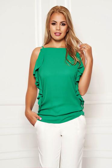 Bluza dama LaDonna verde eleganta cu croi larg cu bretele si volanase