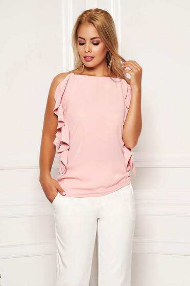 Bluza dama LaDonna roz prafuit eleganta cu croi larg cu bretele si volanase