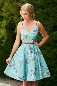 StarShinerS green dress daily short cut cloche denim with straps with v-neckline with floral print
