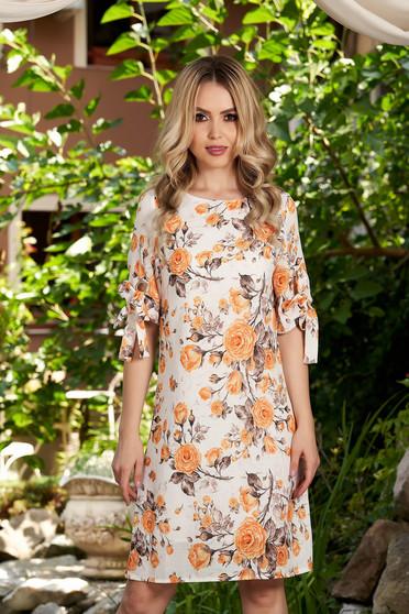 Rochie mustarie scurta de zi cu croi in a cu imprimeu floral cu decolteu rotunjit si maneci prinse in elastic