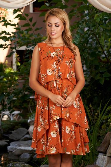 Rochie caramizie scurta de zi cu croi in a din voal captusita pe interior cu imprimeu floral