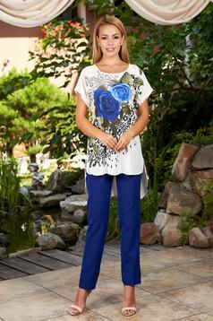 Compleu albastru elegant din 2 piese cu pantalon din bumbac cu imprimeu floral