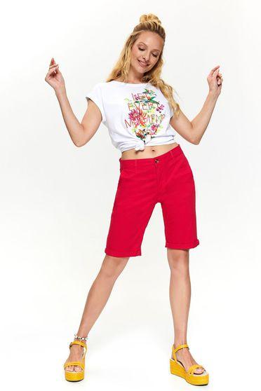 Pantalon scurt Top Secret roz casual pana la genunchi mulat cu buzunare si talie medie