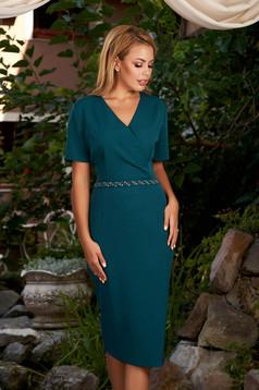 Rochie verde-inchis eleganta midi tip creion cu maneci scurte si decolteu petrecut