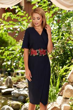 Rochie albastru-inchis eleganta midi asimetrica din stofa cu maneci scurte si decolteu petrecut