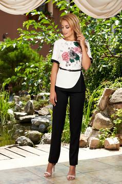 Compleu negru elegant din 2 piese cu pantaloni cu accesoriu tip curea si imprimeu floral