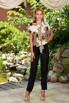 Compleu negru elegant din 2 piese cu pantaloni si bluza cu dungi si imprimeuri grafice din material vaporos