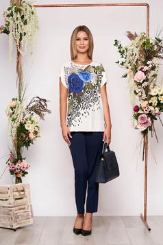 Compleu albastru-inchis elegant din 2 piese cu pantalon din bumbac cu imprimeu floral