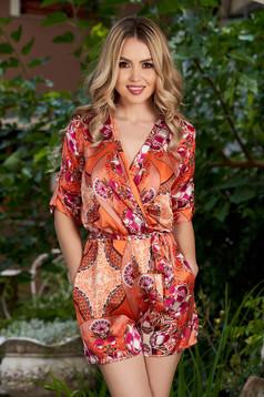 Salopeta PrettyGirl portocalie casual cu imprimeu floral cu decolteu adanc cu maneci trei-sferturi
