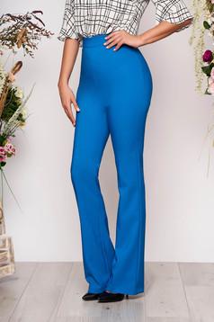 Pantaloni PrettyGirl albastri eleganti lungi si evazati cu talie medie