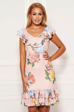 Rochie LaDonna roz prafuit scurta de zi cu un croi drept din voal cu imprimeu floral si decolteu rotunjit