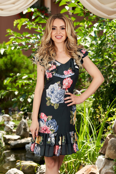 Rochie LaDonna neagra scurta de zi cu un croi drept din voal cu imprimeu floral si decolteu rotunjit