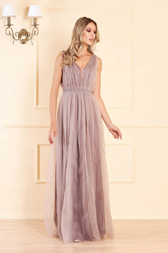 Lila long occasional cloche dress from tulle with pearls with push-up cups sleeveless