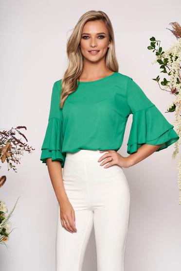 Bluza dama LaDonna verde eleganta din voal cu croi larg cu maneci clopot cu decolteu rotunjit