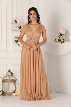 Gold dress occasional cloche with push-up cups with v-neckline from veil fabric