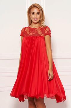Rochie Artista rosie eleganta scurta din material vaporos cu maneci scurte, transparente