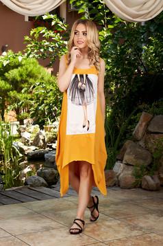 Rochie SunShine mustarie casual midi asimetrica din bumbac fara maneci cu imprimeuri grafice