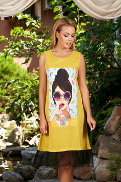 Rochie SunShine khaki casual cu croi in a fara maneci cu imprimeuri grafice