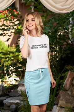 Set SunShine albastru-deschis casual din bumbac din 2 piese fusta si tricou