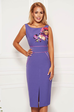 StarShinerS purple elegant dress with tented cut with embroidery details