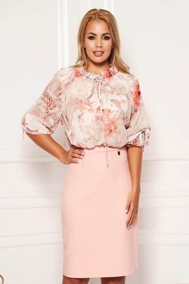 Rochie roz prafuit eleganta midi tip creion cu maneci trei-sferturi cu imprimeu floral din voal