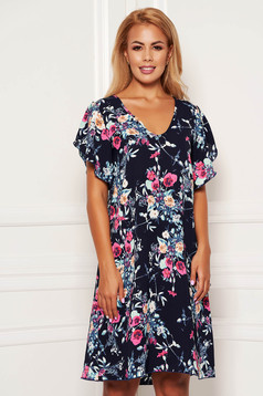 StarShinerS darkblue dress daily short cut a-line with floral print with butterfly sleeves