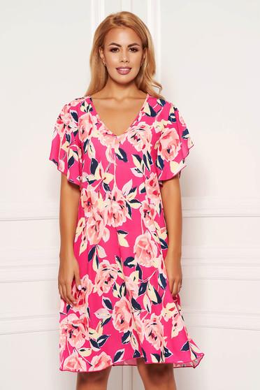 Rochie StarShinerS roz scurta de zi cu croi in a cu imprimeu floral si maneci tip fluture