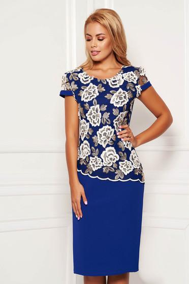 Rochie albastra midi eleganta tip creion cu maneci scurte si suprapunere cu dantela